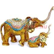 Шкатулка со стразами «Два слоника с поднятыми хоботами» (3011)