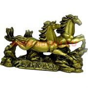 Двойка скачущих лошадей под бронзу из полистоуна (32)
