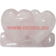 Сердце двойное из розового кварца малое