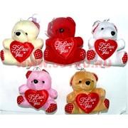 Мишки с сердечками 5 цветов 24 шт