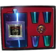 Набор неоновый Jim Beam Фляга 8 унций и 4 стаканчика