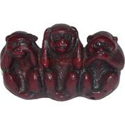 Три обезьяны красные полистоун (G200-6)