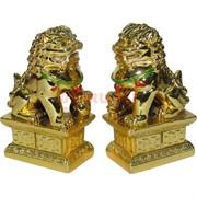 Пекинские львы пара под золото из полистоуна