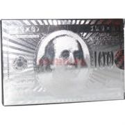 Карты из металлизированного пластика «100 долларов» в серебрянном цвете