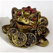 Жабка Феншуй (NS-3) с 3 монетами и красными стразами