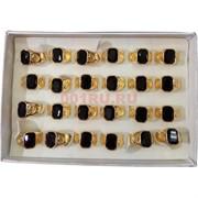 Кольцо под золото с черным камнем 24 шт/уп