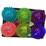 Мячик светящийся шипастый без воды 80 мм цена за 6 шт