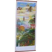 Панно из рисовой бумаги 77x30 см «Пейзаж с пагодой» (W-12)
