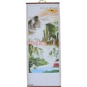 Панно из рисовой бумаги 77x30 см «Горы и река» (W-612)