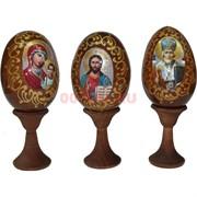 Яйцо деревянное с ликами святых на подставке