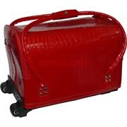 Сумка чемодан на колесиках для косметики (маникюра) красная