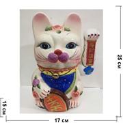 Кот Манэки-нэко керамический 25 см с колокольчиком