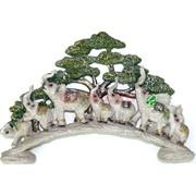7 слонов на мосту с деревом (KL-1068) из полистоуна 42 см длина