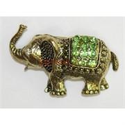 Брошка амулет Слон со стазами