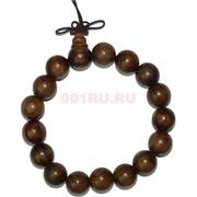 Браслет деревянный индийский 15 мм коричневый
