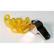 Свисток металлический с желтым шнурком 10 шт/уп
