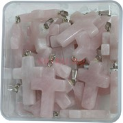 Крестик 4 см из розового кварца