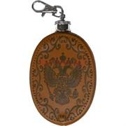Фляжка брелок 4 унции в коже герб России