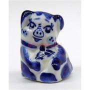 Свинка сидячая гжель керамика 4,2 см высота