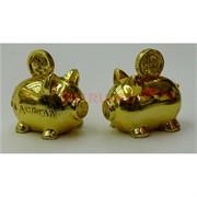 2 свинки полистоун под золото (NS-527) символ 2019 года