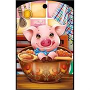 Доска разделочная 28х18 см «свинка с красной икрой»