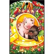 Доска разделочная 28х18 см «две свинки в чашке»