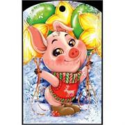 Доска разделочная 28х18 см «свинка с шарами»