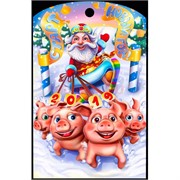 Доска разделочная 28х18 см «дед мороз на свинках»