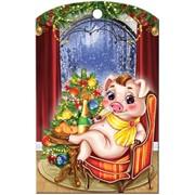 Доска разделочная 28х18 см «свинка в кресле»