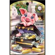 Доска разделочная 28х18 см «свинка с деньгами и слитками»