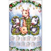 Доска разделочная 28х18 см «календарь и 4 свинки»