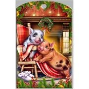 Доска разделочная 28х18 см «свинки у камина с тапочками»
