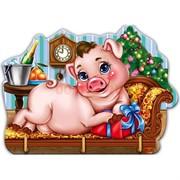 Ключница деревянная 14х22 см «Свинка на диване» с металлическими крючками