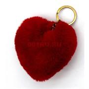 Брелок сердце пушистое (1542A) с мехом 12 шт/уп