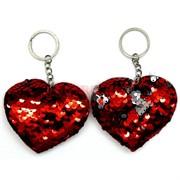 Брелок с пайетками «сердце красное и розовое» 120 шт/уп