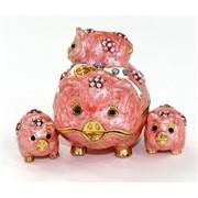 Шкатулка со стразами (4302) «свинья с поросятами»