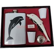 Набор мужской «дельфин» фляга 9 унций, нож-штопор и 2 стаканчика