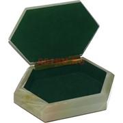 Шкатулка из оникса 6-угольная 16 см длина