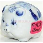 Свинка из фарфора 4,5 см под гжель (KL-1858) символ 2019 года