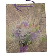Пакет подарочный 18x23 см «Газета» 4 рисунка 20 шт/уп