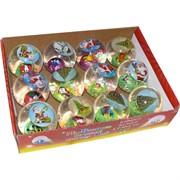 Мячики светящиеся с Дедом Морозом 65 мм, цена за 12 шт