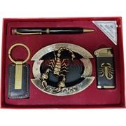 Набор подарочный Moongrass «зажигалка, пепельница скорпион, ручка, брелок»