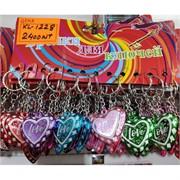Брелок (KL-1228) сердце Love разноцветное 120 шт/уп