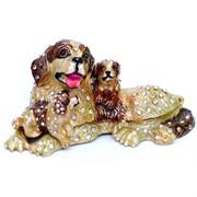 Шкатулка со стразами (5133) «Собака со щенком»