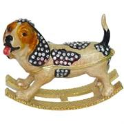 Шкатулка со стразами «Бигль качалка» 2 цвета (5151) Собака