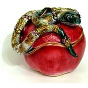 Шкатулка со стразами «Змея на яблоке» (18)