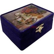 Шкатулка бархатная «чайный натюрморт»
