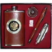 Набор малый «Фляга 6 oz в коже, нож, ручка»