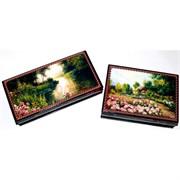Шкатулка деревянная (В-023) «Пейзажи, цветы»