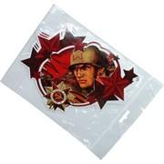 Наклейка на 9 Мая «Орден Победы и солдат в каске» 17x22 см